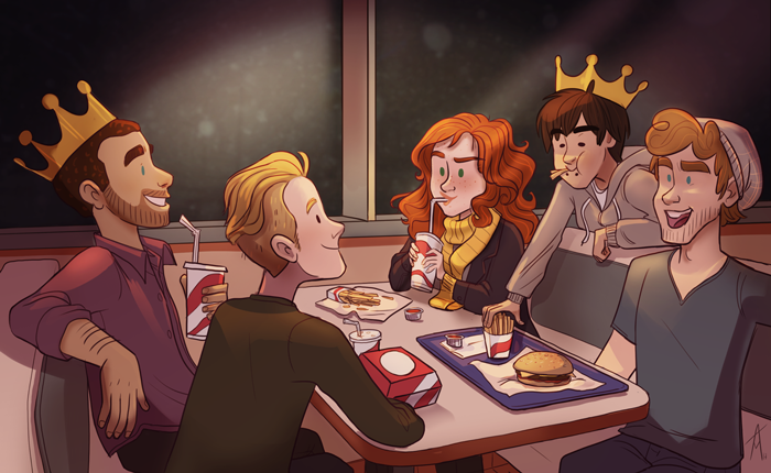 Absolutely perfect glimpse into their late night diner visits on the road!